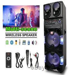 10'' Subwoofer Bluetooth Party Speaker LED Lights USB SD Input FM Radio Portable