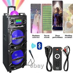 102in HIFI Powered Portable Party Bluetooth Speaker Rechargeable Remote wheels