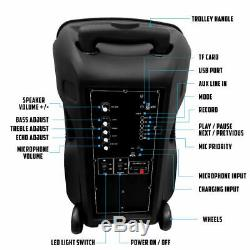 12 2600W Portable Bluetooth Speaker Sub woofer Heavy Bass Sound System Party