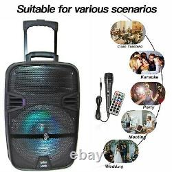 12 3600W Portable FM Bluetooth Speaker Subwoofer Heavy Bass Sound System Party