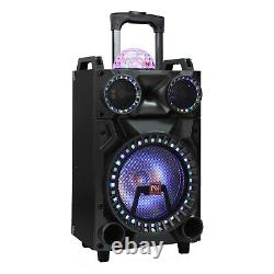 12 Bluetooth Portable Party PA DJ Speaker Woofer Stereo LED Lights MIC AUX FM