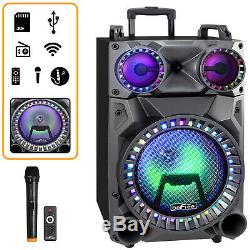 12 Portable Bluetooth Pa Dj Party Speaker Lights Usb Rechargeable Battery MIC