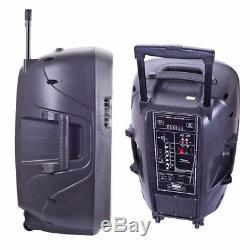 12 Portable PA Bluetooth Speaker LED Party DJ Karaoke Mic Battery USB SD FM AUX
