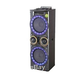 12x2 Inch Large Woofer Tweeter Combo Outdoor Party Speaker System, Mic Input
