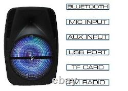 15 4600W Portable Bluetooth Speaker Sub woofer Heavy Bass Sound System Party