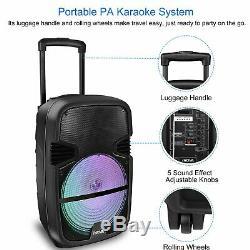 15 PARTY KARAOKE PA DJ SPEAKER Subwoofer Sound System with LIGHTS MIC & REMOTE