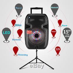 15'' Portable KARAOKE PARTY PA DJ SPEAKER SYSTEM Bluetooth/USB/LED/Mic & Tripod