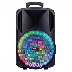 15 inch Loud Bluetooth Portable Party Speaker With LED Lights & FM Radio