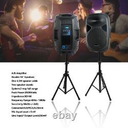 2-Pack 15 Inch DJ Powered PA Speakers PA Audio Party Active Speaker Stands Cable