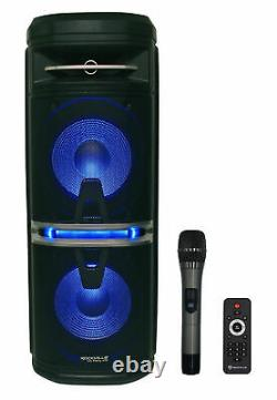 2 Rockville Go Party X10 Dual 10 Wireless Linking Bluetooth Party Speakers+Mics