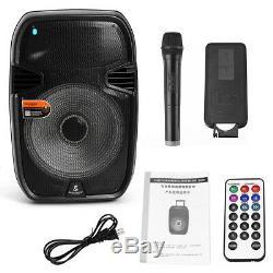 2 x15 BLUETOOTH Portable KARAOKE PARTY PA DJ SPEAKER SYSTEM Mic&LED with 2xTripod