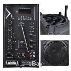 250W 12 Wireless Portable Bluetooth Karaoke Party Speaker With Remote FM DJ Micro
