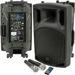 250W 15 Outdoor Portable PA System Bluetooth Karaoke Speaker Wireless Battery