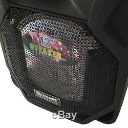 2pcs 12'' Portable PA SPEAKER BLUETOOTH KARAOKE Outdoor Camping Party Lights
