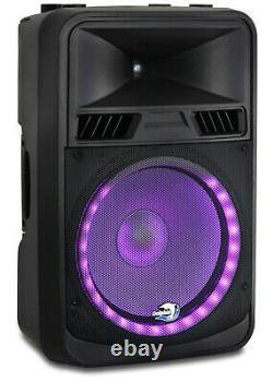 (2x) Dolphin SPX-180BT ELITE Series 15 Inch DJ Party Speakers with RAVE Lights