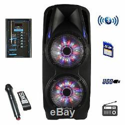 4000 watts 10 inch DJ Woofer Portable Bluetooth Powered PA Speaker Party mic