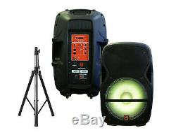 4000W Powered/Active 15 2-Way Wireless Audio DJ PA Speakers Pair, Stands, Mic