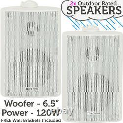 400W LOUD Outdoor Bluetooth System 2x White Speaker Weatherproof Garden Music