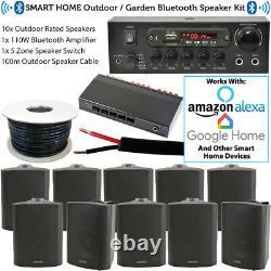 5 Zone Outdoor Bluetooth System-10x Weatherproof Black SpeakerGarden Stereo Kit