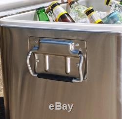 54 Quart BREKX Party Cooler with Bluetooth Speakers Stainless Steel