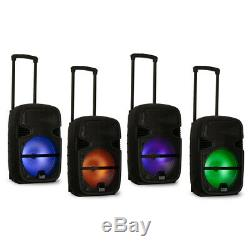 Acoustic Audio Rechargeable 12 Bluetooth Party Speakers with Lights Mics & Stands