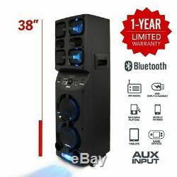 Axess PABT6026 2 x 6.5 Rechargeable Party Speaker +USB/AUX/FM +Mushroom LED