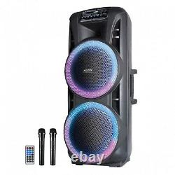 Axess Party Rock Bluetooth PA Speaker 2-15 Woofers 10000 Watts LED Lights