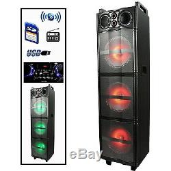 BEFREE DJ PA PORTABLE BLUETOOTH 3 10 Inch SUBWOOFERS SPEAKER FM PARTY LIGHTS