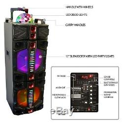 BEFREE Dual 12 Bluetooth PORTABLE DJ PA PARTY SPEAKER With Lights Karaoke MIC USB