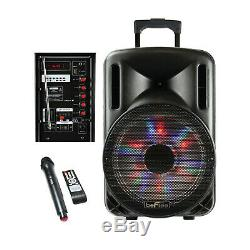 BEFREE SOUND 12 BLUETOOTH PORTABLE RECHARGEABLE PARTY DJ PA SPEAKER with LIGHTS