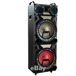 BEFREE SOUND 12 DUAL SUBWOOFER BLUETOOTH PORTABLE DJ PA PARTY SPEAKER withLIGHTS