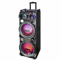 BEFREE SOUND DUAL 10 BLUETOOTH PORTABLE DJ PA PARTY SPEAKER with LIGHTS MIC USB