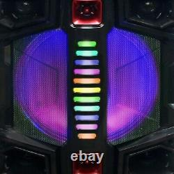 BEFREE SOUND DUAL 12 BLUETOOTH PORTABLE DJ PA PARTY SPEAKER with LIGHTS MIC USB