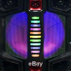 BEFREE SOUND DUAL 12 SUBWOOFER BLUETOOTH PORTABLE PARTY SPEAKER with LIGHTS MIC