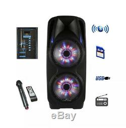 BLUETOOTH Portable DJ PA Party Speaker with Dual 10 Woofer AMP LED Lights Bass