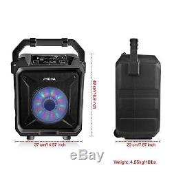 BT Party Speaker System Bluetooth Big Led Portable Stereo Tailgate Loud with Mic