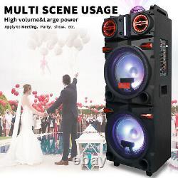 BT Portable Party Karaoke Bluetooth Dual 10 Woofer Speaker DJ Light Mic Remote