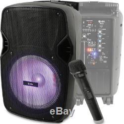 Battery / Mains Sound System 10 Speaker USB Bluetooth Karaoke DJ Inc Radio Mic