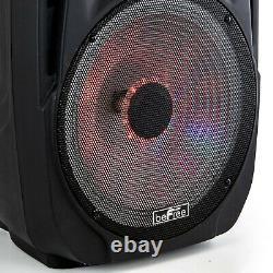 BeFree Sound 15 5000W PMPO PA DJ Party Speaker w Bluetooth Lights Mic Remote FM