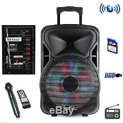 BeFree Sound 15 Bluetooth Rechargeable DJ PA Party Speaker withLights Mic USB Aux