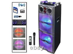 BeFree Sound BFS-5501 Double Subwoofer Bluetooth Portable Party Speaker with Rea