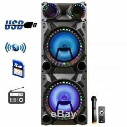 BeFree Sound Rechargeable Bluetooth 12 Double Subwoofer Portable Party Speaker