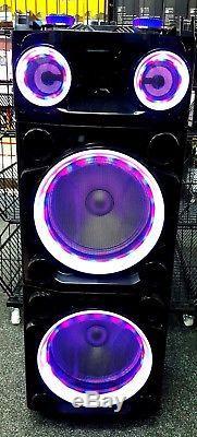 Bluetooth Loud DJ Party Disco Speaker With Karaoke USB SD RGB LED AUX RADIO
