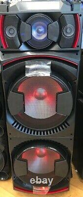 Bluetooth Party DJ Speaker Dual 15 inch Woofer + Equalizer + Lights + Wired Mic