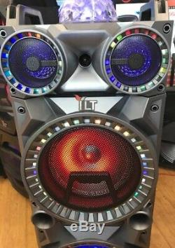 Bluetooth Rechargeable Party DJ Speaker Dual 10 inch with Lights + Wired Mic