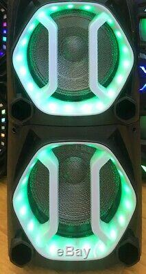 Bluetooth Rechargeable Party DJ Speaker Dual 12 inch with LED Lights + Wired Mic