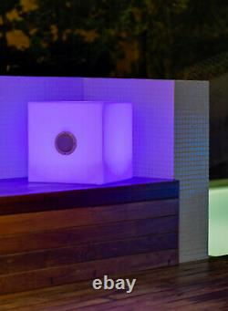 CGC Outdoor Bluetooth Speaker Large RGB Cube Garden Party LED Light Portable UK