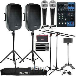 Complete DJ Party Karaoke System w Speakers, Mixer, Microphones & Stands 2 Pack