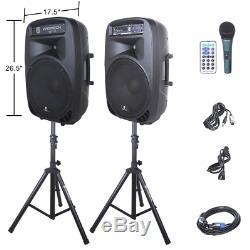 DJ PA Music Sound System Speakers Stereo Lighting Audio Bluetooth Mic LED Lights