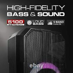 Dolphin 5100W 15 Rechargeable Party Speaker Use as Portable PA&Karaoke System